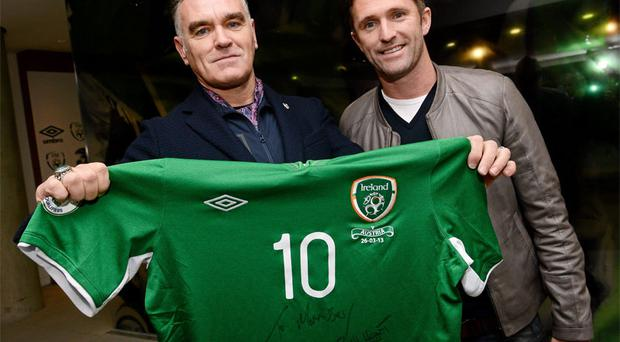 Robbie Keane with cousin Morrissey before the game at the Aviva