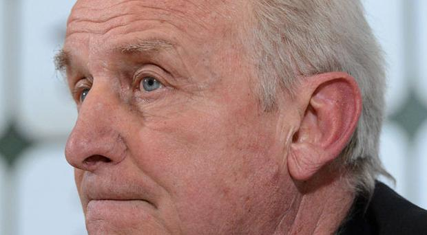 Giovanni Trapattoni speaking to the media after Ireland's draw with Austria