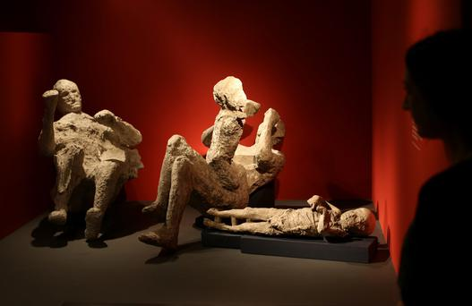 A whole family killed at Pompeii is displayed at the Life And Death In Pompeii And Herculaneum exhibition.