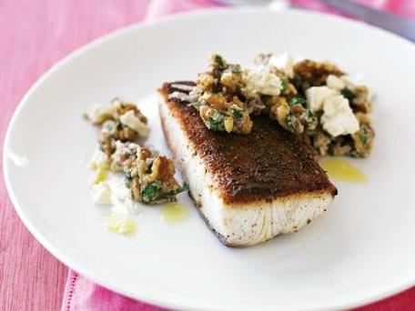 Spice-crusted skillet fish with walnut pesto