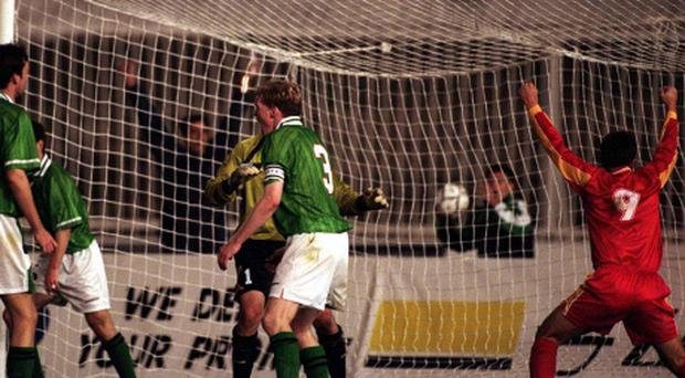 Rep of Ireland's players watch on after the injury time equaliser for Macedonia in 1999. Photo: Sportsfile