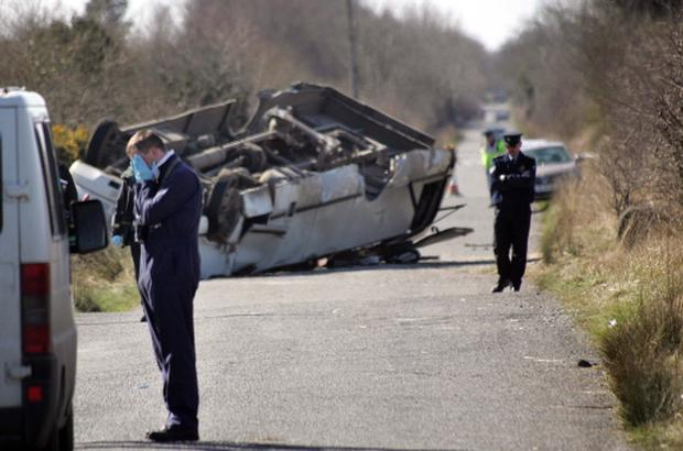 The scene of the bus crash near Clara, Co. Offaly which claimed the life of one schoolboy in April 2006