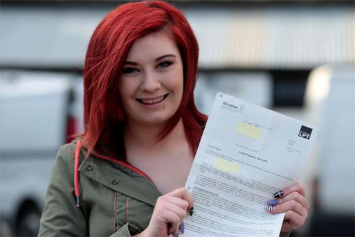 Emma Timmins from Balbriggan in Dublin with her property tax letter