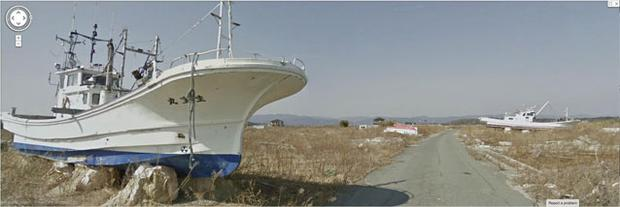 A still from Google Maps shows stranded ships left behind after the tsunami two years ago