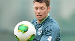 Wes Hoolahan training ahead of the qualifier match against Sweden. Picture: Brendan Moran/Sportsfile.