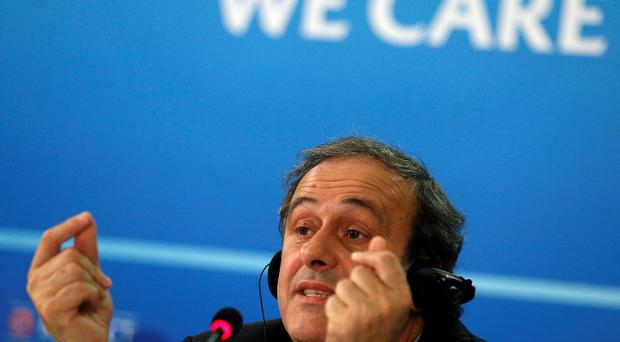 UEFA President Michel Platini speaks during a news conference after the UEFA Executive Committee. Photo: Reuters