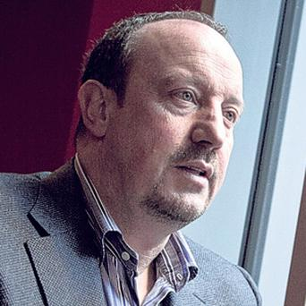 Rafa Benitez at a cafe on Merseyside earlier this week.