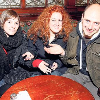 Martina Repetti, Francesca Cuminetti and Andrea Cobianchi at Madigan's on North Earl Street in Dublin