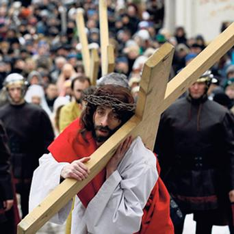 Polish catholic devotees re-enact the