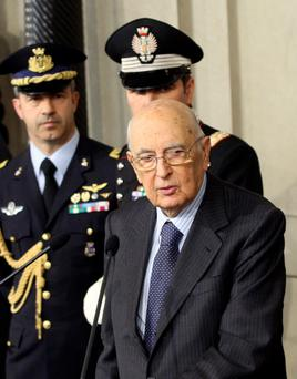 Italian President Giorgio Napolitano speaks during a media conference at the Quirinale palace in Rome, March 30, 2013.