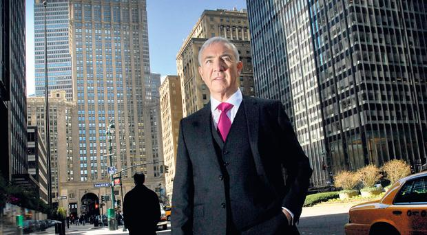 """ONE-TIME MOGUL: """"If life is equated to a game of golf, I feel I still have the back nine to play,"""" says Sean Dunne, pictured on New York's Park Avenue yesterday."""