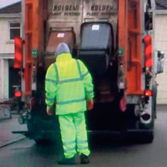 CAUGHT ON CAMERA: A Greyhound waste truck is used for both black and brown bins
