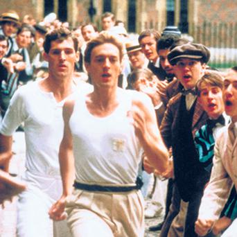 The 'Great Court Run' scene from the 1981 multi-Oscar-winning 'Chariots of Fire', which was produced by David Puttnam.