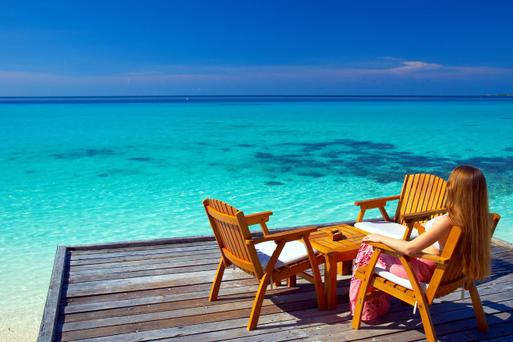The unspoilt beauty of the Maldives. Picture posed by model