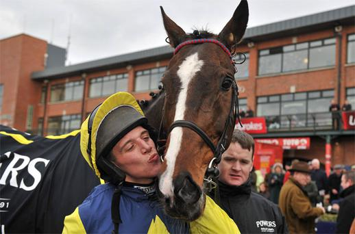 Jockey Davy Condon with Realt Mor after winning the Powers Gold Cup
