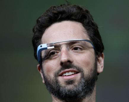 Google co-founder Sergey Brin demonstrating Google's new Glass last year