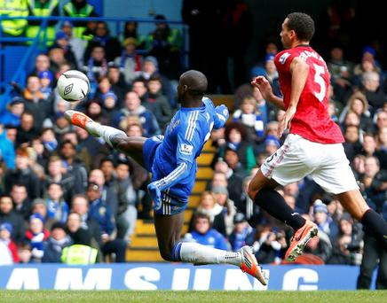 Demba Ba scores his fantastic winner against Manchester United. Photo: Reuters