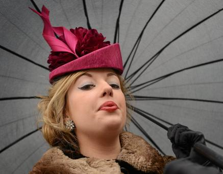 Racegoer Fiona Sherlock, from Navan, Co. Meath, at the day's racing. Photo: Sportsfile