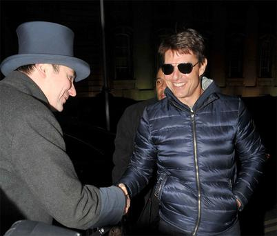 Hollywood actor Tom Cruise arrives at the Merrion Hotel in Dublin late last night ahead of the premiere of his new film 'Oblivion'