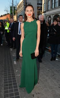 Olga Kurylenko wearing Roland Mouret at the Irish premiere of Oblivion
