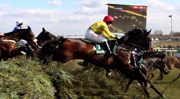 Battlefront ridden by Katie Walsh (right, red cap) jumps the chair in the John Smith's Fox Hunters' Chase during Grand Opening Day of the 2013 John Smith's Grand National Meeting at Aintree. Battlefront later collapsed and died.