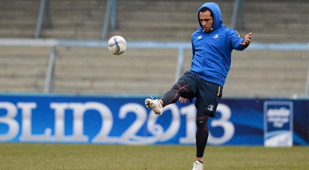 Leinster's Isa Nacewa gets some kicking practice in during the captain's run ahead of their Challenge Cup clash against Wasps tonight
