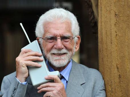 American engineer Martin Cooper made the first mobile phone call 40 years ago in the middle of New York City, baffling passers-by. At 10 inches high and weighing 790g, the legendary original 'brick' was released for the general public in 1983. Photo: Reuters