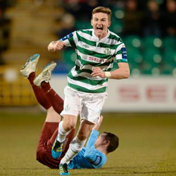 Ronan Finn celebrates after scoring for Shamrock Rovers at Tallaght Stadium.
