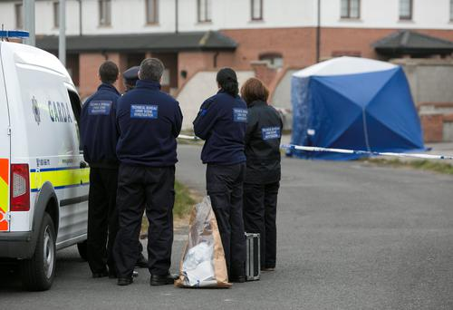 Members of the Gardai at the scene of a fatal shooting in Coneyboro,Green, Co. Kildare. Photo: Gareth Chaney