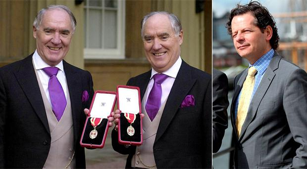 David Barclay (left) and his twin brother Frederick after receiving their knighthoods from Queen Elizabeth at Buckingham Palace in 2000. Right: John Moran