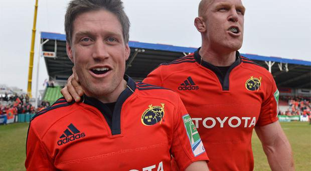 Ronan O'Gara and Paul O'Connell after the match