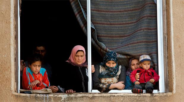 Displaced families in their shelter in Harem