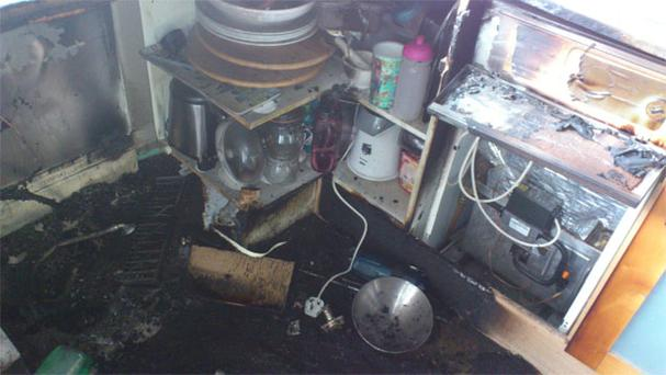 Blaze damage to the Corcoran family kitchen in Leopardstown, Dublin, after their Bosch dishwasher caught fire.
