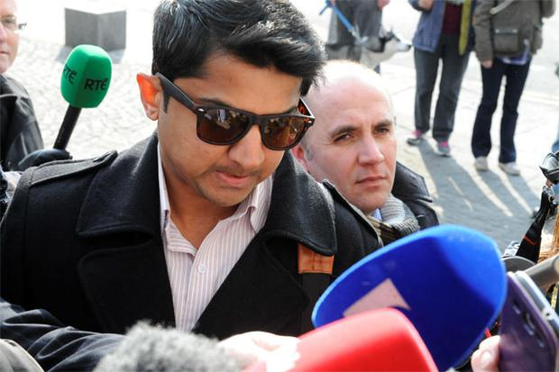 Praveen Halaappanavar with his legal team arriving at Galway Courthouse for the Coroners Inquest into the death of his wife Savita