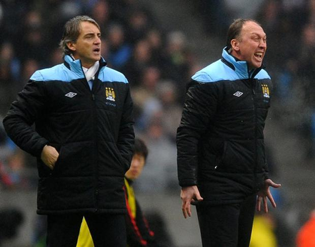 City assistant boss David Platt alongside Roberto Mancini. Picture credit: Laurence Griffiths / Getty