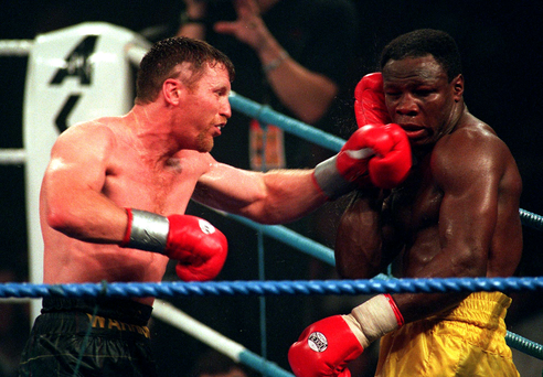 Steve Collins in action as he defeats Chris Eubank for the WBO World Supermiddle Weight title in 1995.