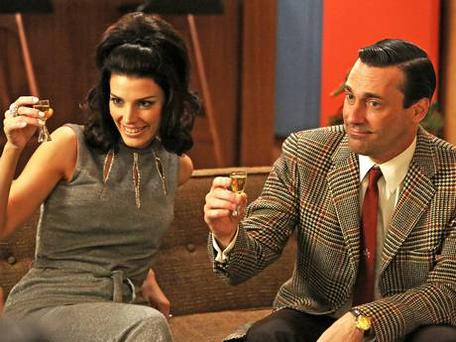 Jessica Pare as Megan Draper and Jon Hamm as the troubled, melancholy Don Draper. Picture: AP/AMC