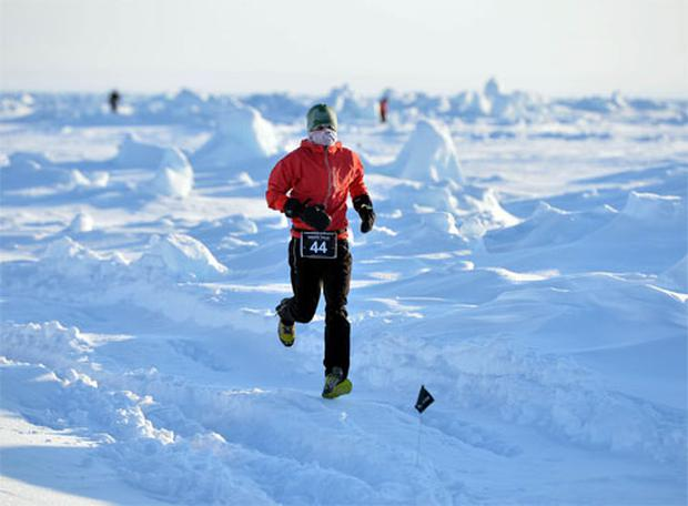 Gary Thornton, running The UVU 2013 North Pole Marathon