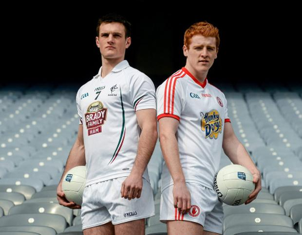 Eoin Doyle (Kildare, left) and Peter Harte, Tyrone. Pic: Sportsfile