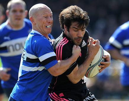 Peter Stringer (L) of Bath and Jerome Fillol of Stade Francais in action during the Amlin Challenge Cup Quarter Final. Photo: Getty