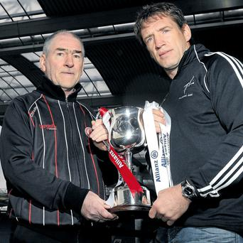 Mickey Harte and Kieran McGeeney square off in Sunday's National Football League semi-final in Croke Park