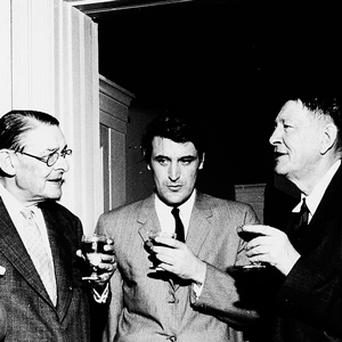 LITERARY GIANTS: From left, Louis MacNeice, TS Eliot, Ted Hughes, WH Auden and Stephen Spender at the Faber party