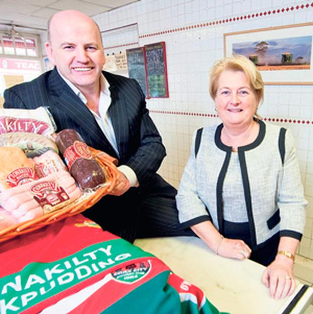 HAVE A BUTCHER'S: Sean Gallagher and Colette Twomey of Clonakilty Black Pudding in her shop in Clonakilty, Co Cork.