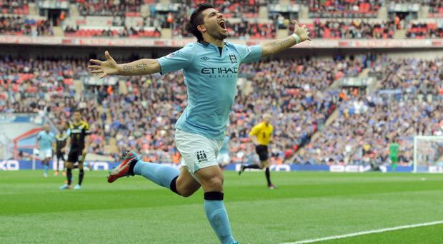 Manchester City's Sergio Aguero celebrates scoring against Chelsea. Photo: PA