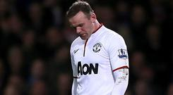 Manchester United's Wayne Rooney looks dejected during the Premier League match at Upton Park. Picture: Nick Potts/PA Wire.
