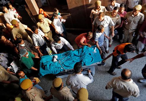 A five-year-old rape victim is moved to the All India Institute of Medical Sciences hospital from Swami Dayanand hospital for treatment in New Delhi