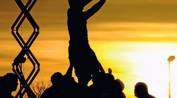 A general view of a lineout during the Pro12 game between Connacht and Ulster at the Sportsground