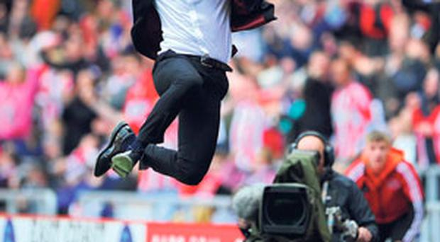 Paolo Di Canio can't contain his joy at the final whistle as Sunderland beat Everton 1-0 at the Stadium of Light to move six points clear of the relegation zone.