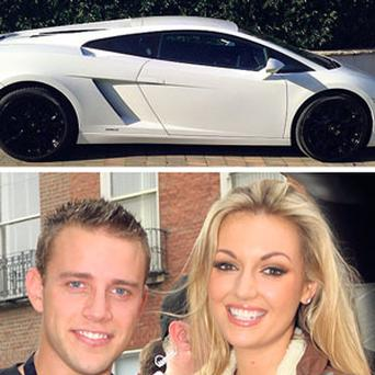 QUIRKE AS A FLASH: Glamorous couple Wes Quirke and Rosanna Davison, and above, the 200mph Lamborghini Gallardo supercar that Wes has just bought.