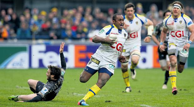 Sitiveni Sivivatu of Clermont Auvergne breaks clear to score a try during the Heineken Cup quarter-final against Montpellier to set up this Saturday's semi-final showdown with Munster